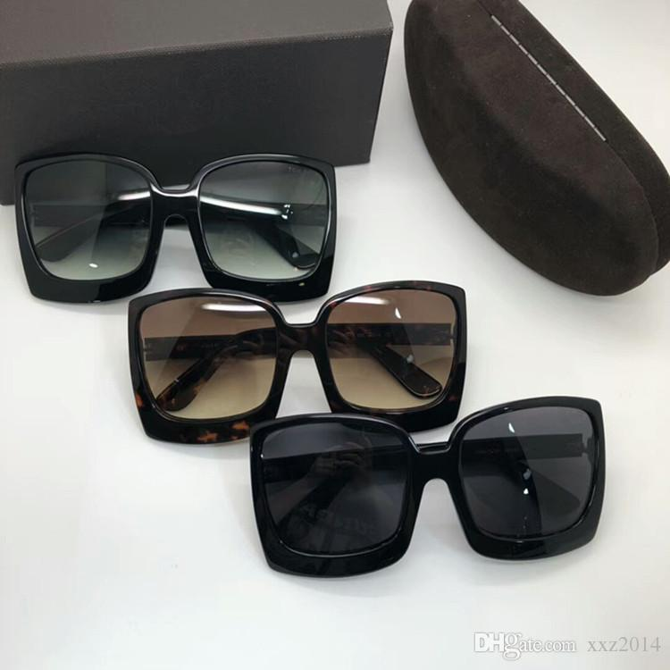 Quality FT0617 Star Gradient Sunglasses concise big square frame 60-19-135 Quality pure-plank UV400 Googles muti-color full-set case