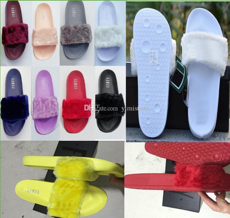 2018 RIHANNA FUR LEADCAT FENTY SLIDES MUJER Hombres ZAPATILLAS House Winter Slipper Home Shoes Mujer Warm Slippers Talla 36-41