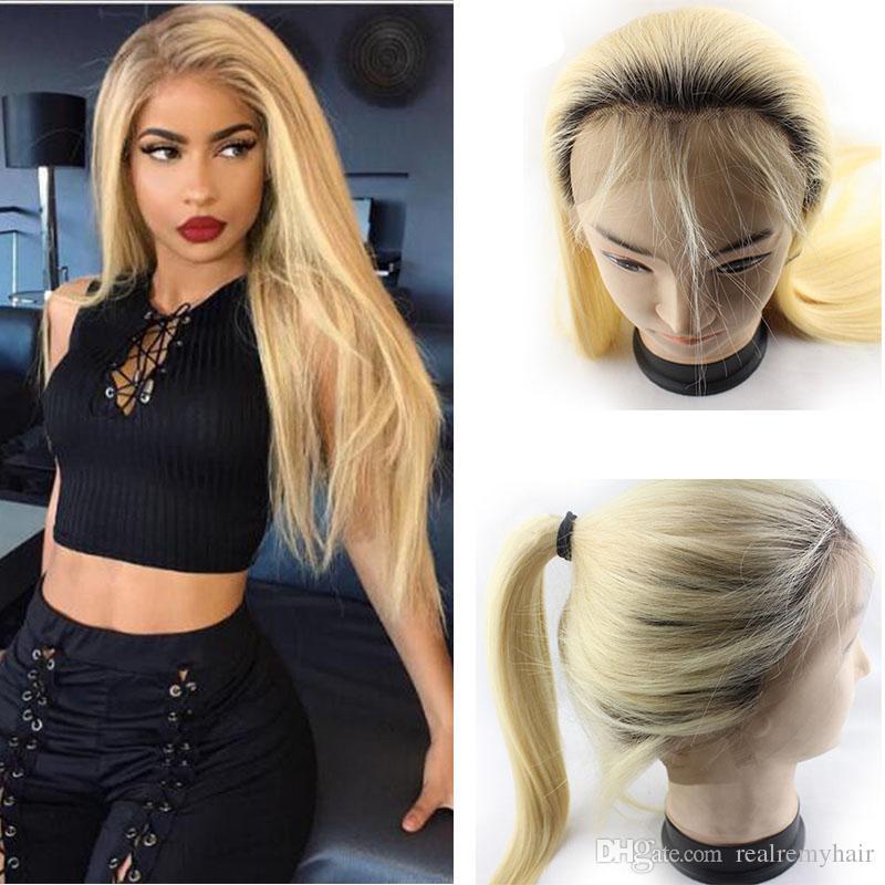 Brasilianische Ombre Blonde Glueless Volle Spitze Menschenhaarperücken Vor Gerade 1B / 613 # Honey Blonde Lace Front Perücken Mit Dem Babyhaar