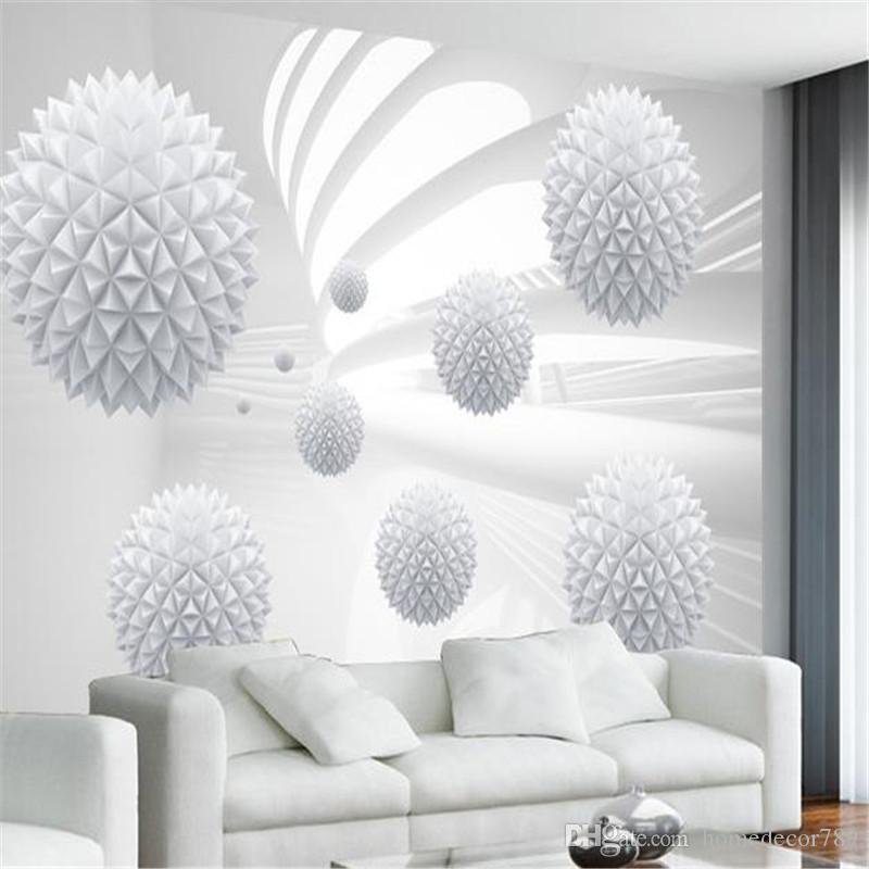 Modern Abstract 3D Wallpapers Custom Photo Wallpapers White Ball Geometric Wall Papers for Living Room Home Decor Flowers Murals