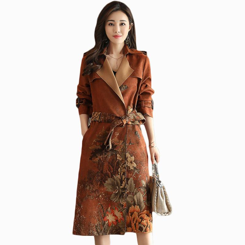 2017 new arrival women autumn fashion youth trench vintage personalized loose coat female coat suit collar overcoat ZL775