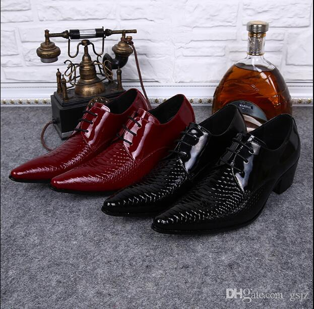 2018 New Style Mens nero rosso Scarpe da sposa Gentsman 6cm tacco alto in pelle lucida Scarpe medie tacco alto Partito scarpa S504