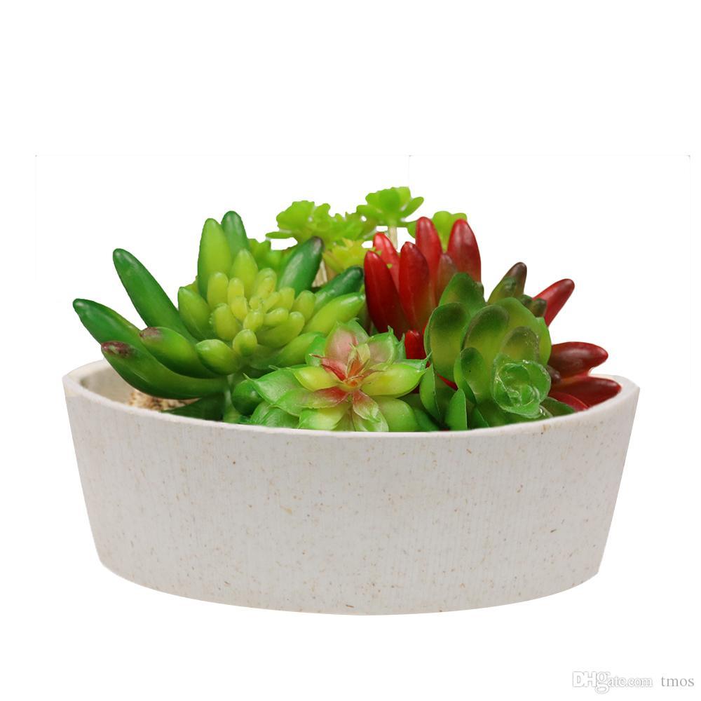 MUZHI 6.7 inch Plant Fiber Round Succulent Cactus Planter Pots, Cylindrical Modern Design Decorative Garden Flower Bowl Succulent Box