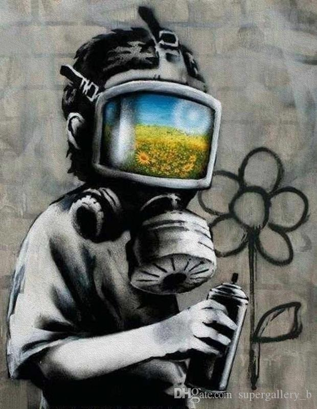 Banksy Gas Mask Boy Handpainted & HD Print Graffiti Abstract Street Art oil painting Home Decor On High Quality Thick Canvas Multi Size G159