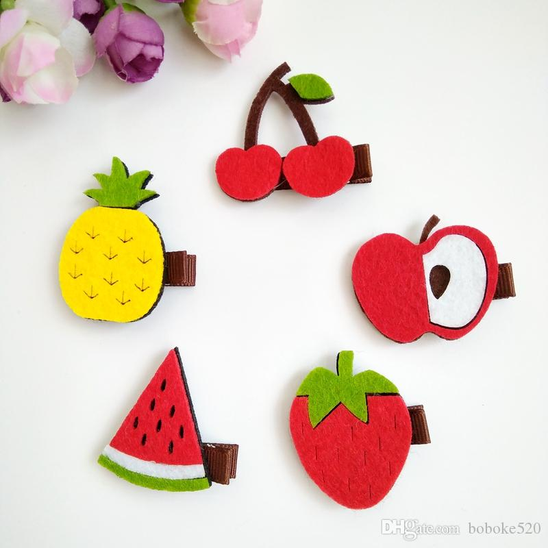 30pcs/lot High quality Non-woven fabric Fruit style kids Baby hair accessories children girls hair clips hairpins