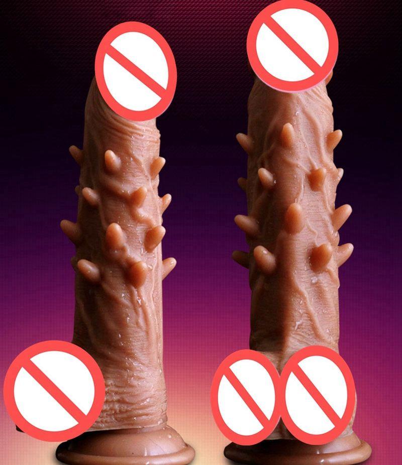 Silicone super réaliste gode vrais peaux de peau de peau avec épines piquant de haute qualité pour femmes masturbation jouets sexuels produits sexuels