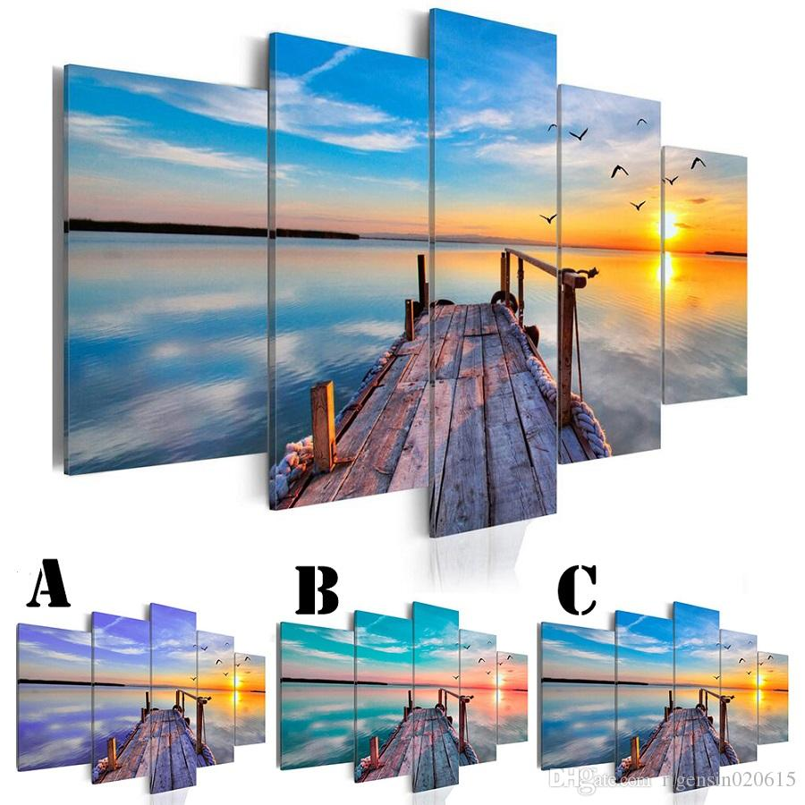 Wall Art Picture Printed Oil Painting on Canvas No Frame 5pcs/set Home Decor Extra Mirror Border Wooden Footway and Sea