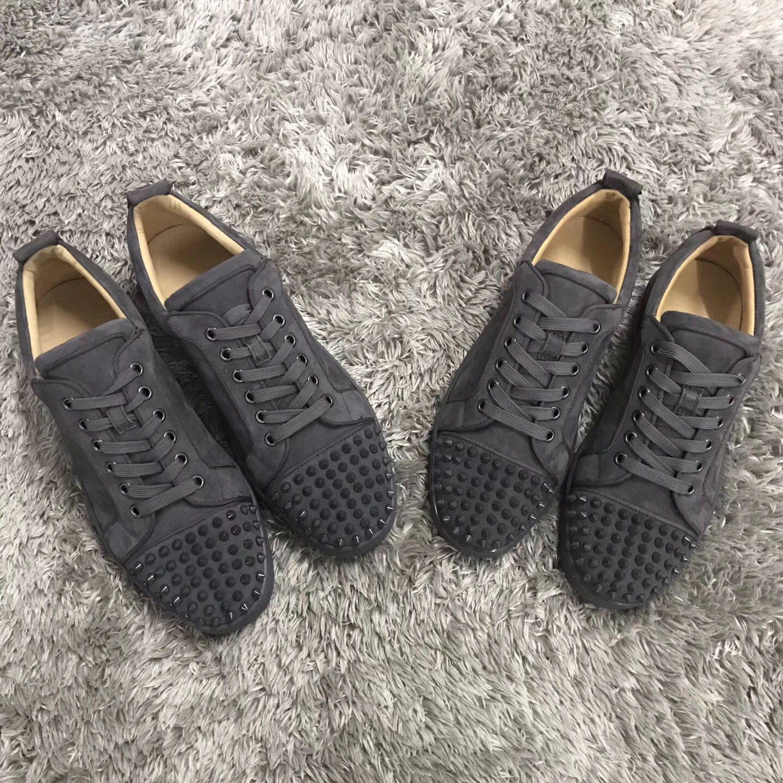 2018 Mode Paris Mens luxe baskets baskets chaussures hommes femmes Mode daim gris en cuir Sneaker - Robe de mariée