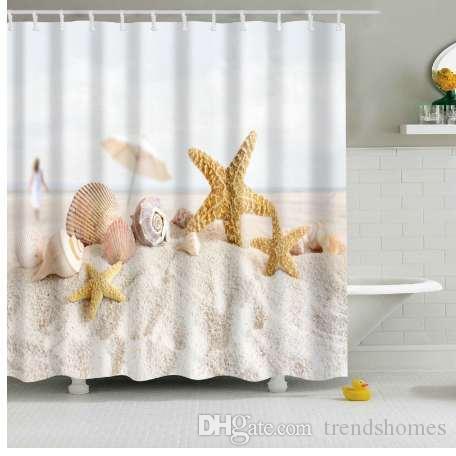 Nueva colorido respetuoso del medio ambiente Beach Conch Starfish Shell poliéster de alta calidad lavable decoración del baño cortinas de ducha