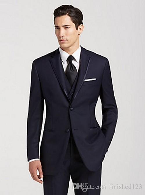 Alta Qualidade Dois Botões Do Noivo Azul Marinho Smoking Notch Lapela Groomsmen Melhor Homem Ternos de Casamento Dos Homens Ternos (Jacket + Pants + colete + Gravata) NO: 1116