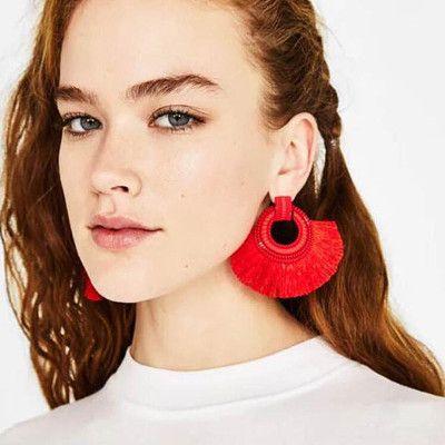 NEW Fashion Earrings Red Long Tassel Earring Vintage Ethnic Big Fringed Earrings Women Fashion Jewelry Female Brincos