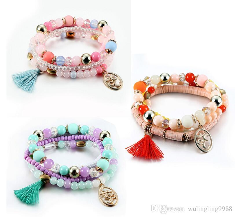 6 Colors Yoga Tassel Bracelet Beads Bracelet String Multilayer Wrap Bracelet Crystal Tassel Pendant Bangle Multilayer Bracelets