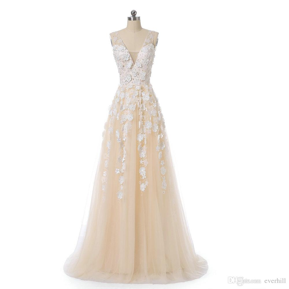Fancy Champagne Long Prom Dresses With Pearls 3D White Flowers 2018 Sheer Deep V-Neck A Line Party Gowns Sleeveless Tulle Formal Dresses