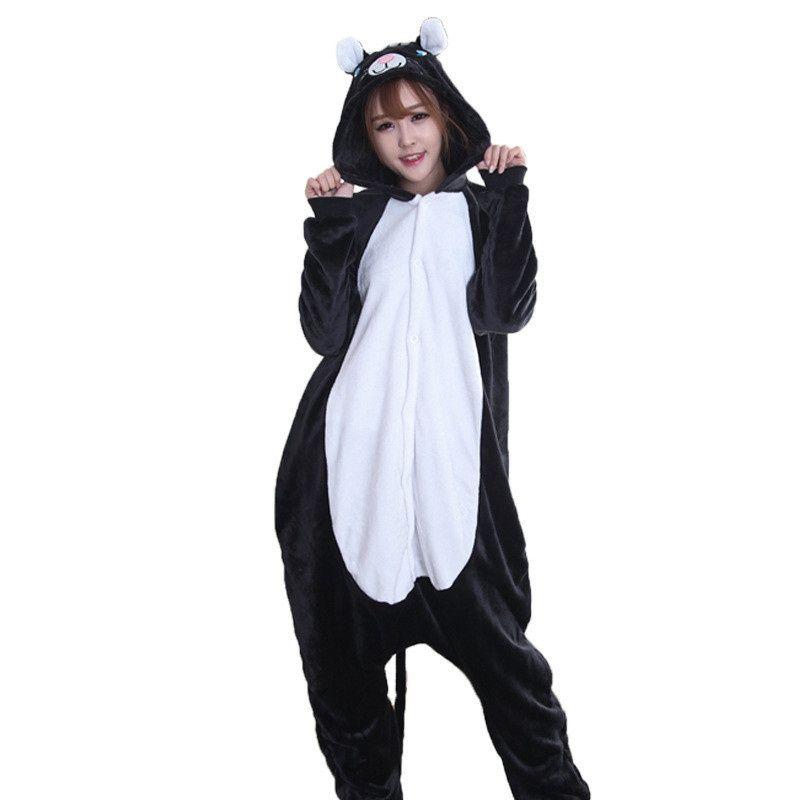 women flannel pajamas animal cartoon black cat cosplay onesie pajamas for women female ladies performances sleepwear