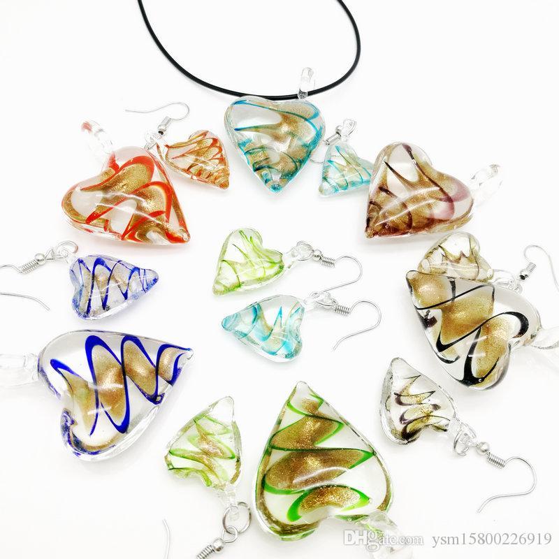 Livraison gratuite en gros 6 ensembles en forme de coeur d'or de sable en verre Twisted collier pendentif boucles d'oreilles, Set de bijoux à la mode