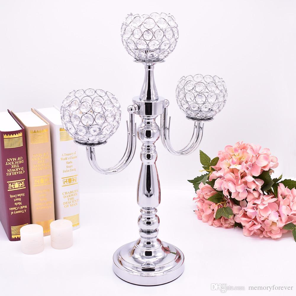 Romantic Wedding Decorations Idea Silver Candelabra Candle Stick K9 Crystal Candle Holders Stand Hotel Parties Candle Lantern