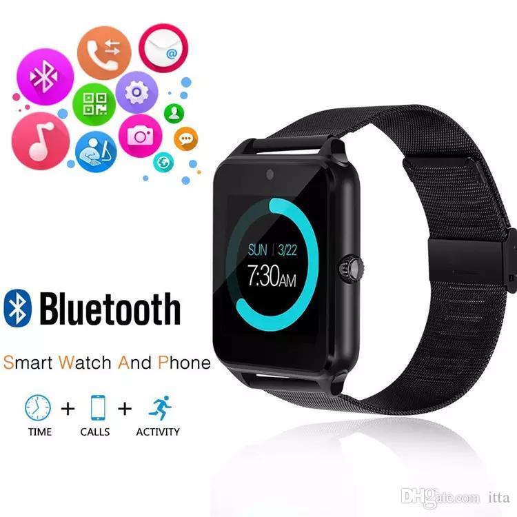 Z60 Bluetooth Smart Watch Поддержка SIM TF Карта Камеры Фитнес-Трекер Трекер Сна Ответ на звонок Для IOS Android