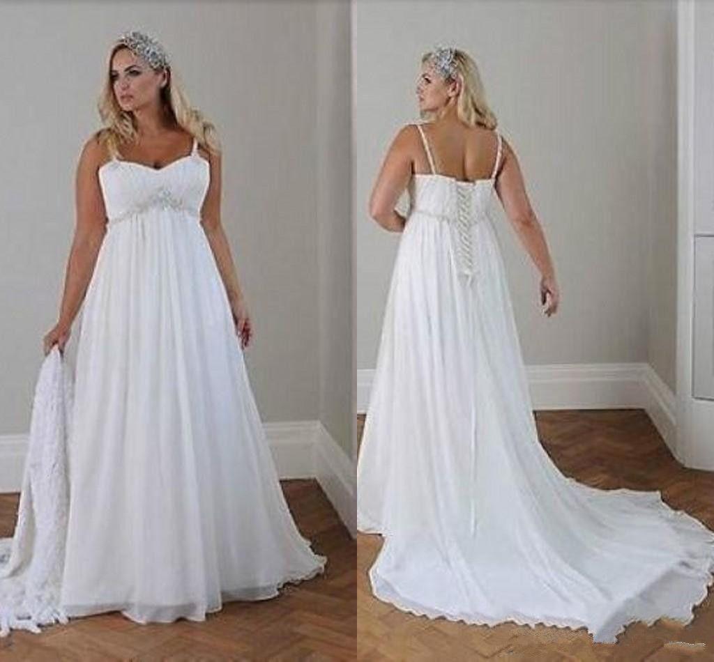 Скромные плюс размер свадебные платья пляж свадебный шифон линия длина полоса спагетти ремни кружев назад простые элегантные бого