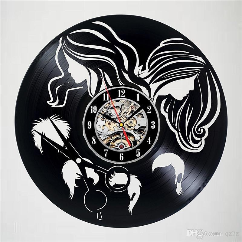 Barber Shop Decoration Elements Vinyl Quartz Wall Clock Creative Home Decor Room Decoration Wall Art Clock (Size: 12 inches, Color: Black)