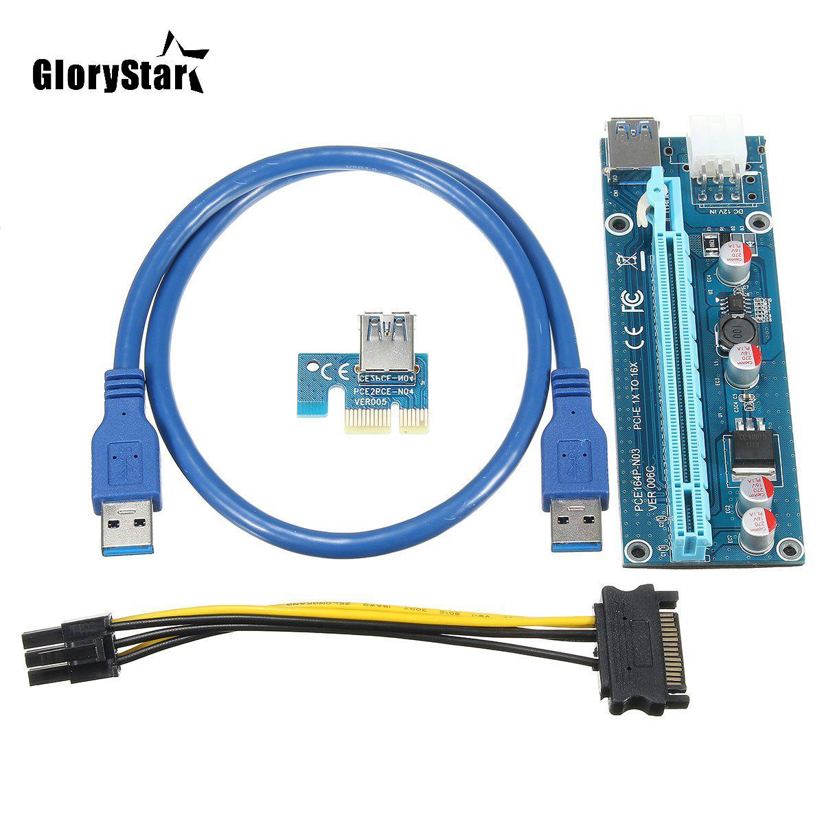 الجملة مل 3pcs USB 3.0 PCI-E بطاقة الناهض اكسبريس 1X 4X 8X 16X موسع الناهض محول SATA 15PIN ذكر إلى 6PIN كابلات كهرباء