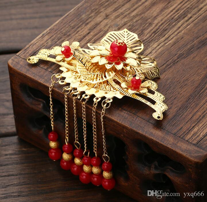 Acessórios traje nupcial Fringe Headwear Cheongsam Cabelo Scorpion Phoenix Crown Costume Film Classical cocar de noiva