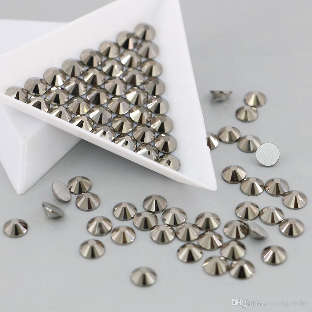 Hematit renk ile ss3 için ss30 toplu stok taş cam olmayan düzeltme Rhinestone Flack geri boncuk ile gümüş geri