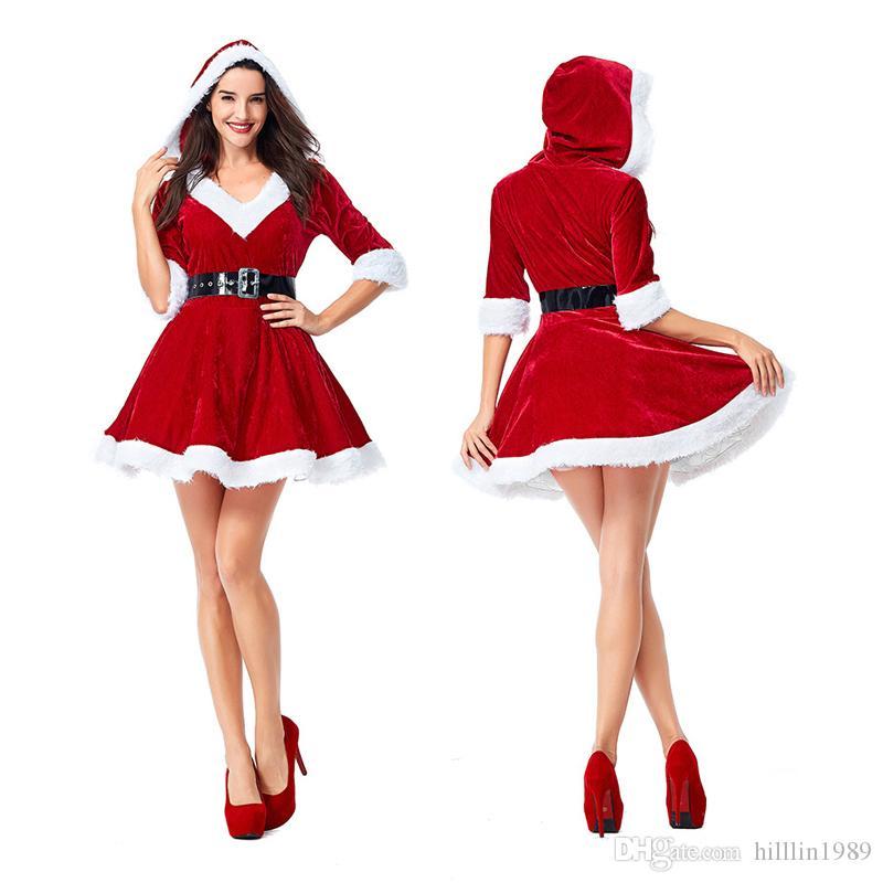 Women Spun Velvet Christmas Theme Costume Female Half Sleeve Faux Fur Sexy Xmas Mini Dress with Hat