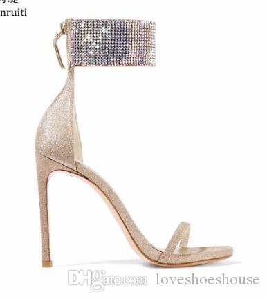 Gold Sequin Cloth High Heels Women Sandals Sexy Stiletto Heels Women Shoes Studded Crystal Ankle Buckle Women Pumps