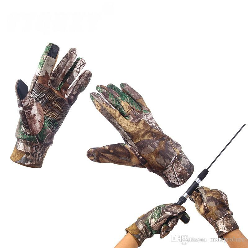 Camo Fishing Gloves All Finger Anti-Slip Riding Cycling Camping Sports Camouflage Gloves for Spring Autumn Winter Carp Fishing Hunting Glove