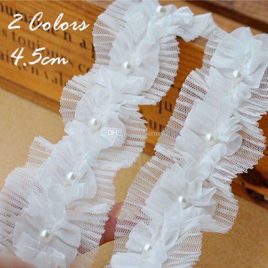 Aparar Lace Decoração 2 Camadas Branco Aparar Lace Tecido com Imitado Pérola Shinning Fio para o Vestido de Casamento DIY Rendas 40 Yds. / Lote