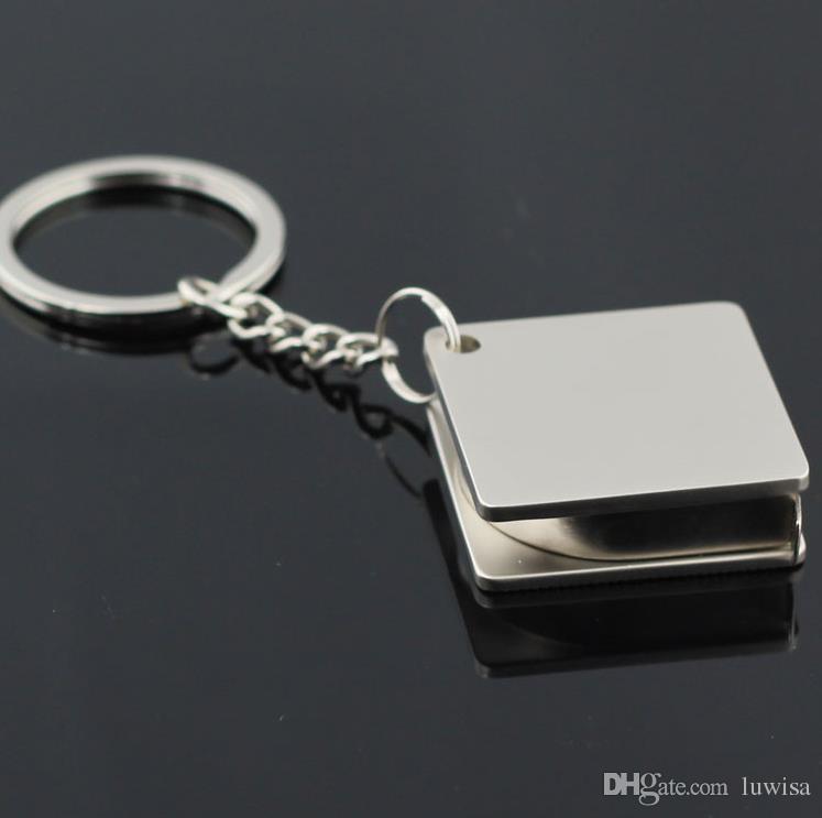 크리 에이 티브 실용적인 테이프 측정 키 체인 열쇠 고리 반지 Keyring 열쇠 고리 홀더 스테인리스 눈금자 열쇠 고리 30PCS / LOT
