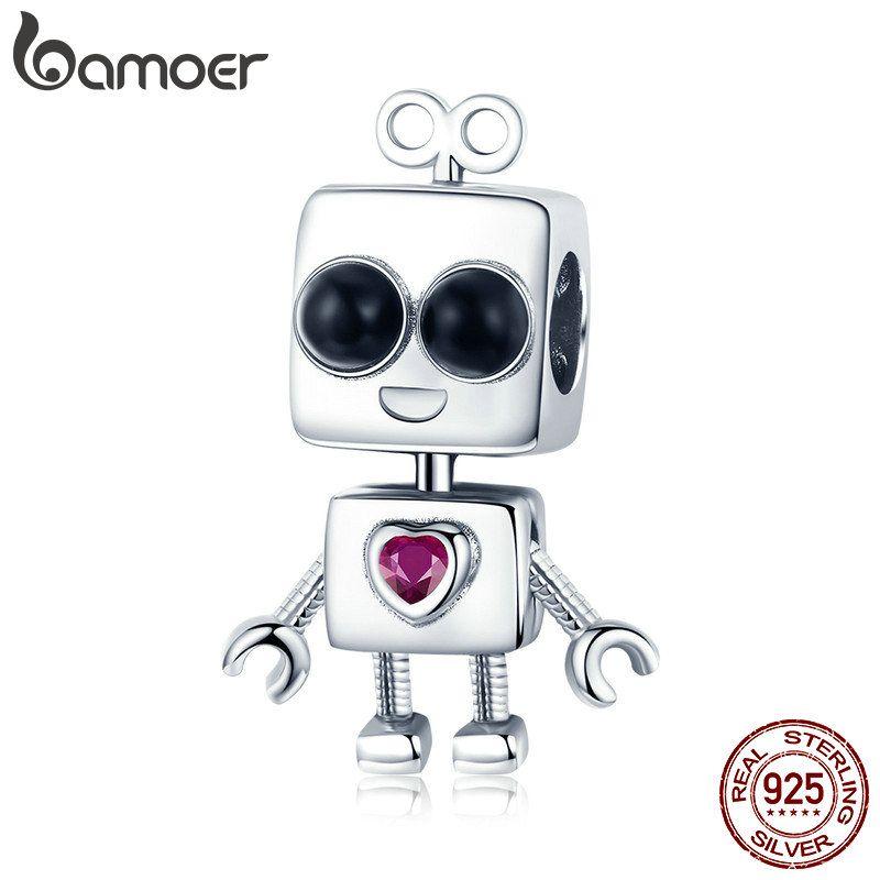 Sıcak Satış 925 Ayar Gümüş Kene Tock Robot Kız Erkek Çocukluk Boncuk Charm fit Charm Bilezik DIY Takı Hediye