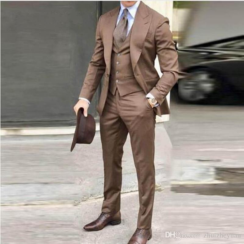 New Fashion Khaki Men Suit 3 Pieces Formal Wedding Suits Slim Fit Groom Tuxedos Handsome Best Wedding Tuxedos (Jacket+Pant+Vest)