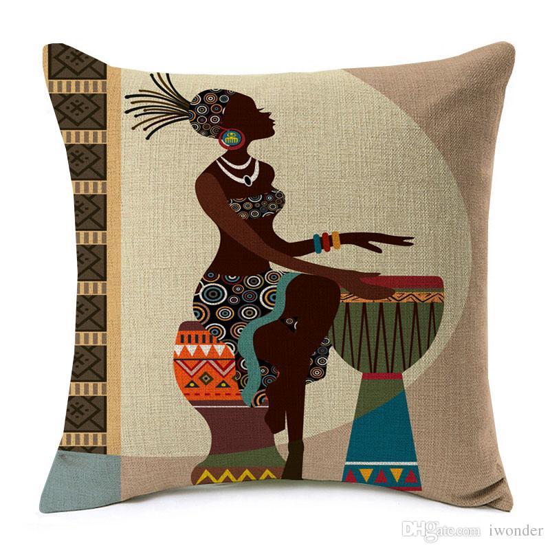 Cartoon Fashion African Lady Cushion Cover Love Dancing Music Africa Symbols Modern Decoration Art Sofa Decorative Pillows Cases