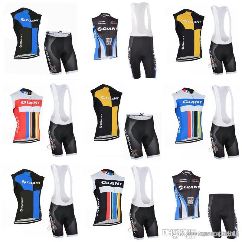 GIANT team Cycling Sleeveless jersey Vest (bib)shorts sets Summer Sleeveless Bike Racing Team Breathable Comfortable Riding c2104