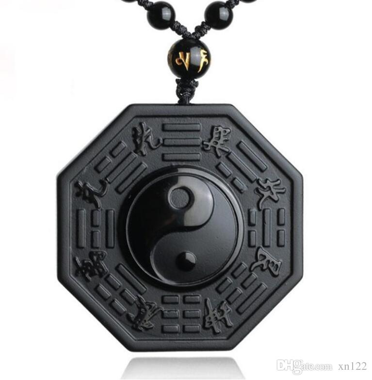 DropShipping Black Obsidian Necklace Pendant Chinese BAGUA Men's Jewelry Women's Jewelry