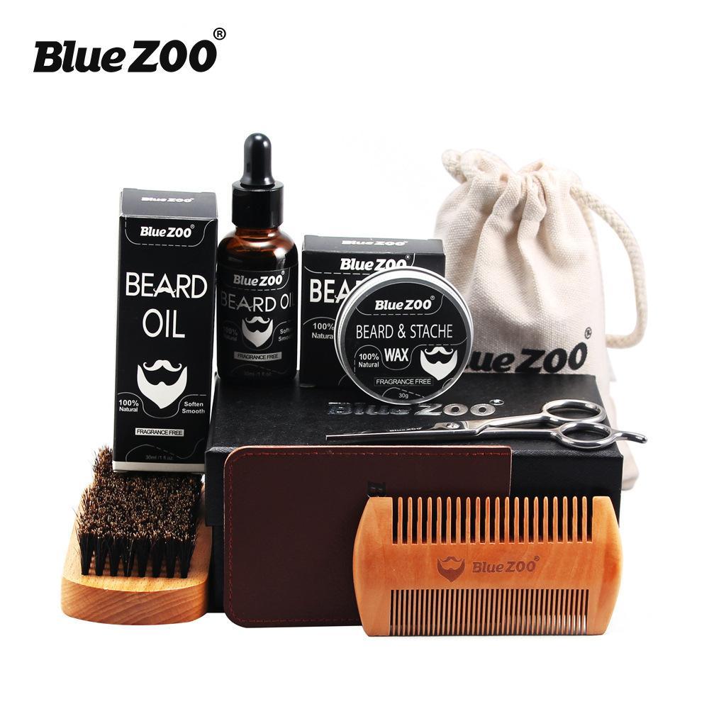 Bluezoo الطبيعية العضوية الرجال اللحية الرعاية بلسم الشارب الشمع مع مقص مشط حقيبة الترطيب العناية اللحية التهيأ كيت