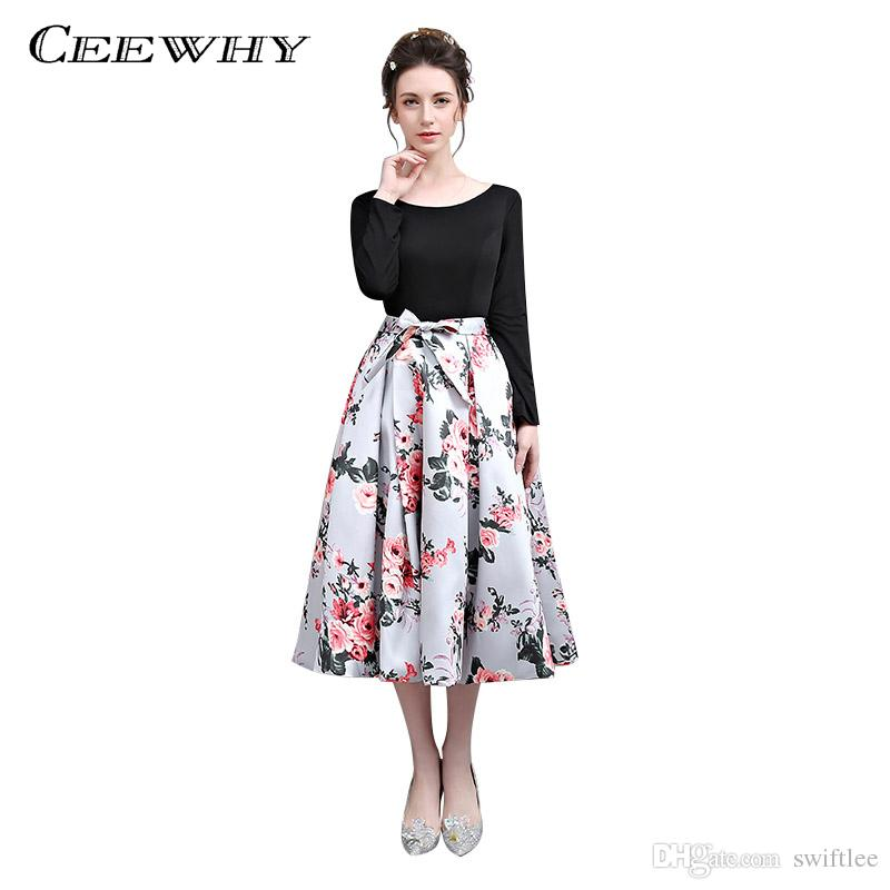 CEEWHY Tea-Length Vestido de Festa Floral Printed Evening Dress Long Sleeve Short Prom Gown Formal Dress Evening Gowns Abiye