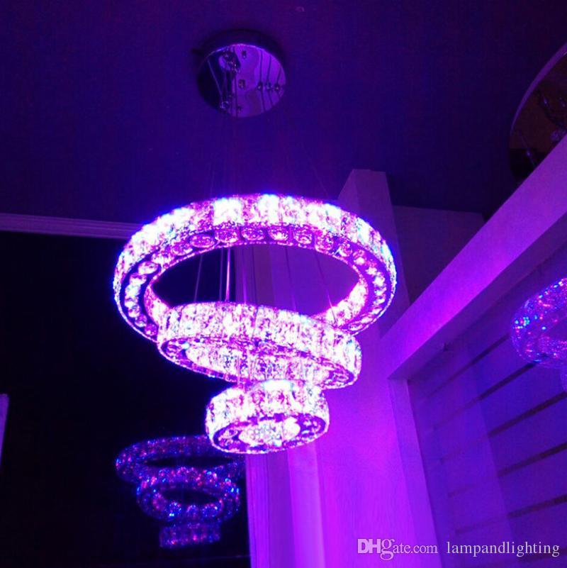 색상 변경 RGB LED 펜던트 라이트 럭셔리 라운드 크리스탈 램프 3 반지 Pendente 막대기 홈 장식에 대 한 정지 된 전등