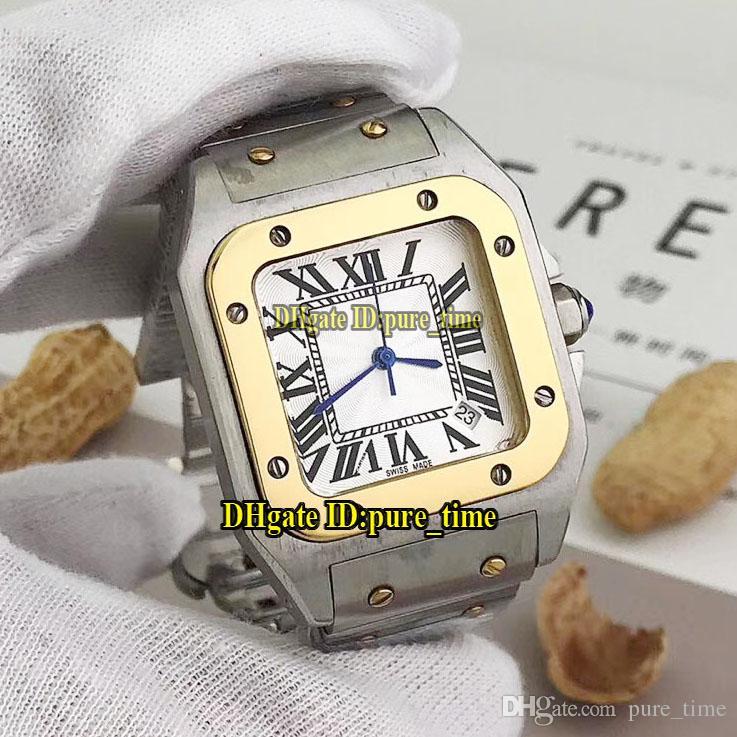 Galbee XL W20099C4 Dial blanco Reloj de cuarzo suizo para hombre Dos tonos Caja de oro de 18 k 316L Banda de acero Relojes de pulsera baratos