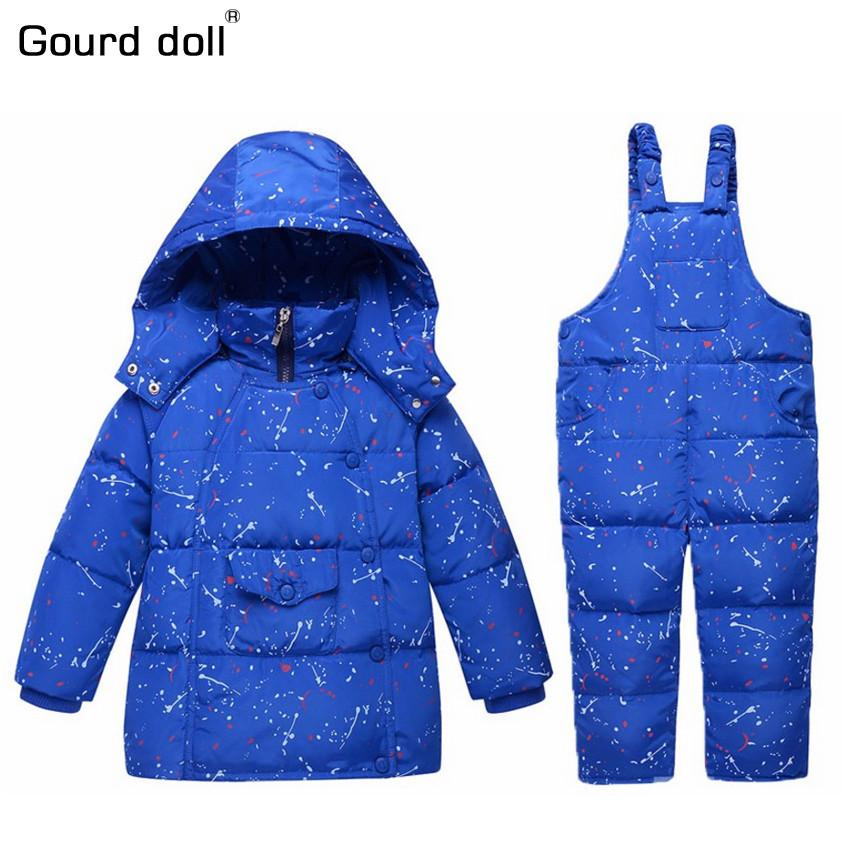 2017 Kış Çocuk erkek kız Giyim Setleri 90% ördek aşağı ceket setleri pantolon-ceket kapşonlu erkek bebek kış ceket ceket s001