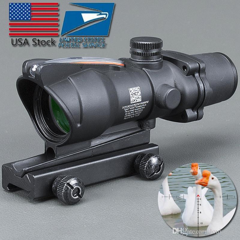 ABD Stok Trijicon Avcılık Tüfek ACOG 4X32 Gerçek Fiber Optik Kırmızı Yeşil Işıklı Chevron Cam Kazınmış Retikül Taktik Optik Sight