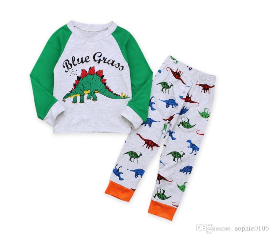 Niño Pijamas de Dinosaurio de Manga Larga Conjunto Baby Letter Print Traje de Desgaste de Ocio Niños Ropa Ropa Dos Piezas CN G037