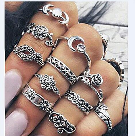11 sets of antique rose leaves carved totem, moon feathers exquisite women's ring