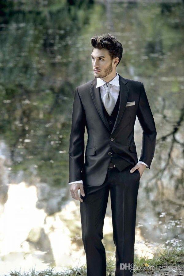 Alta calidad Dos botones Novio Esmoquin Negro Padrino de boda El mejor hombre se adapta a la fiesta de baile Trajes formales de negocios (chaquetas + pantalones + chaleco) Trajes de boda