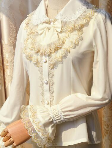 2017 New Lolita Vintage Style Golden Lace Women's White Blouse with Flare Long Sleeve