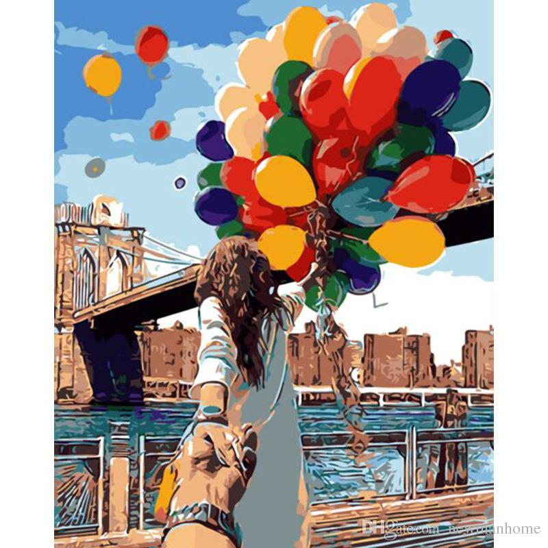 Hot sale diy oil painting by number 40cm*50cm linen acrylic complete color set without frame balloon pattern room wall decoration