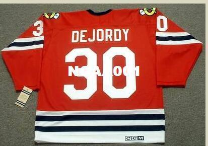 Mens # 30 DENIS DEJORDY Chicago Blackhawks 1963 CCM Weinlese-Hockey-Jersey oder Gewohnheit irgendein Name oder Zahl Retro Jersey