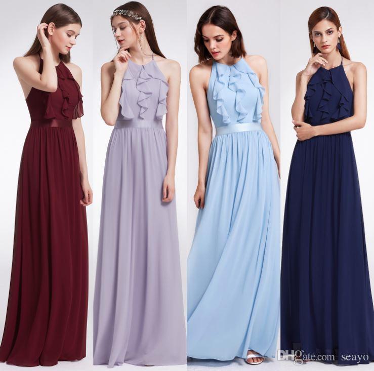 새 신부 들러리 드레스, 긴 자매들, 슬림 연회 파티 블록 버스터 이브닝 드레스, 공장 홍보, 선택적 4 색
