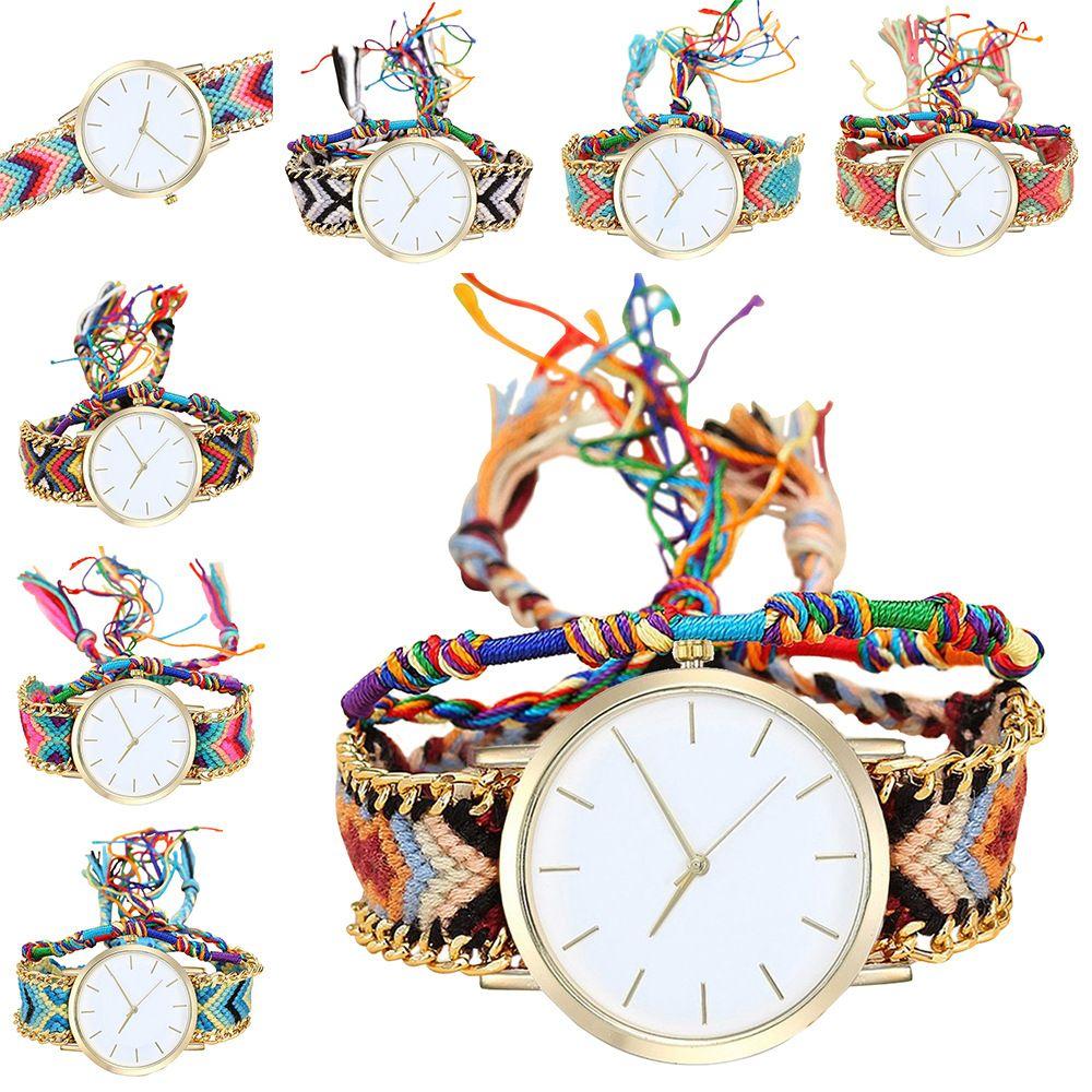 Geneva Women Weave Wristwatch Ladies Luxury Handmade Braided Hand-Woven Bracelet quartz Rope Wrist watches for Christmas Women Gift